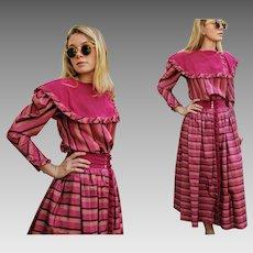 Vintage JEANNE MARC 80s Avant Garde TAFFETA Skirt Blouse Top Set - 1980s