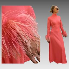 Mod Vintage 70s Salmon pink Maxi Formal Dress Gown REAL MARIBOU FEATHER Sleeve - 1970s