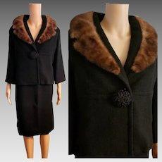 Vintage LILLI ANN 60s Mod-era Black Wool/MINK Fur Jacket Skirt Suit - 1960s Medium