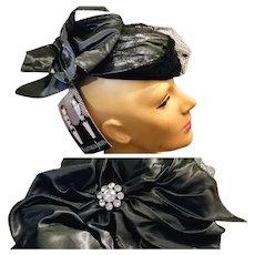"""UNUSED w/Orig 100.00 Tag Vintage WHITTALL & JAVITS Metallic black/silver derby party Hat - 19"""""""