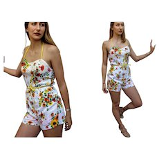 PERFECT Vintage 60s/1960s MOD Floral Swim Play Suit ROMPER Jumper Playsuit - (Ex Small-Small)