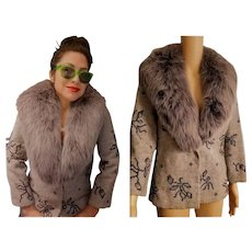 EXQUISITE Vintage 60s KARL LAGERFELD/Tiziani Roma Petitpoint Wool & Blue Fox Fur Jacket Coat - 1960s XS - S