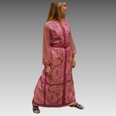 """Vintage 60s ALFRED SHAHEEN rare """"Cherry Blossoms"""" motif Pink Nylon MAXI Dress Gown - 1960s (Medium)"""