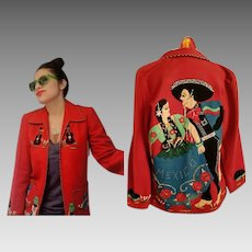 Rare! Vintage 50s MEXICO Mexican FOLK ART Red Felt-Wool hand embroidered Jacket Coat - 1950s (Ex Small/Small)