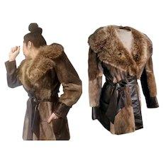 Vintage 70s NATURAL/WILD FOX FUR & Patchwork MINK & Leather mod hippie Jacket Coat - 1970s (Small)