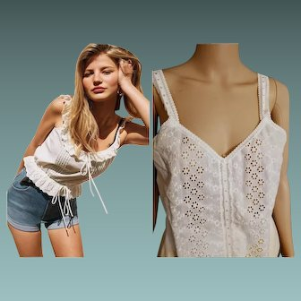 ESSENTIAL VINTAGE: 70s White EYELET cami Tank Top Blouse by Pembrooke - 1970s (Small)
