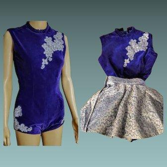 Vintage 50s/1950s MAJORETTE/SKATER/TWIRLER Uniform Outfit costume Dress - Girls or Women 00 XXS