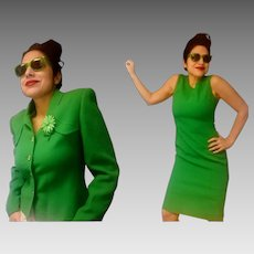 Collectible! Vintage 60s BILL BLASS mod Kelly Green Dress/Jacket SUIT - 1960s (Small)