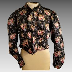 Vintage VICTORIAN Antique Floral SILK BLOUSE womens top shirt 1800s (Extra Small)