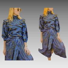PRICEY Vintage 80s/1980s PERRY ELLIS Duck/Pheasant/Paisley print preppy avant garde Ruffle Blouse Top & Gaucho Pants set - Ex Small