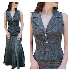 ***** VINTAGE SALE ****** Metallic 70s TOPLET of England Black Lurex 2pc Dress - 1970s Tulip Skirt & Top