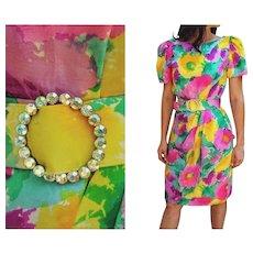 "STUNNING Vintage 80s MORTON MYLES Watercolor Silk ""sarong"" Cocktail Dress - 1980s (Small/Medium)"
