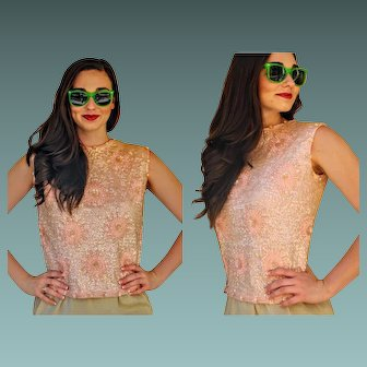 """RARE PINK Vintage 60s mod beaded sequin """"Imperial of Hong Kong"""" Sweater - 1960s FREE SHIPPING"""