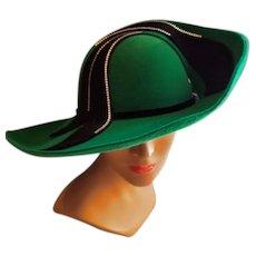 EXQUISITE Vintage 80s RABBIT FUR/Rhinestone avant garde Wide Brim Hat - 1980s Chapeau Creations by Ruth Kropveld