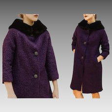 "Vintage 60s Mod PURPLE ""Elda of Mexico"" Wool/MOHAIR/RABBIT Hair Car Coat - 1960s (Small/Medium)"