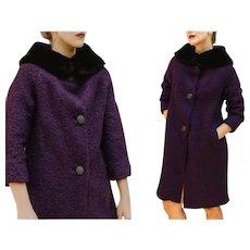 "****** VINTAGE SALE ******  60s Mod purple ""Elda of Mexico"" Wool/Mohair/RABBIT Hair Car Coat - 1960s (Small/Medium)"