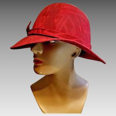 Vintage 70s Iconic Fedora Hat by FRANK OLIVE - Art Deco red wool print 1970s