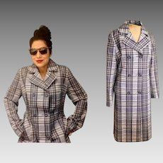 "Vintage MADE IN ENGLAND ""Laure' of Leicester"" 60s Mod plaid Spy Girl Trench Coat - 1960s (Medium/Large)"