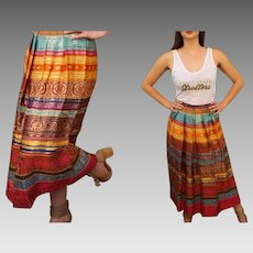 Vintage SAK'S 5TH AVENUE 80s pure India Silk boho festival gypsy ethnic Skirt - 1980s (Small)