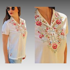 Vintage 70s Hand-Embroidered Asian ethnic peasant DAFFODIL Blouse Top Shirt - 1970s (FREE Domestic SHIPPING)