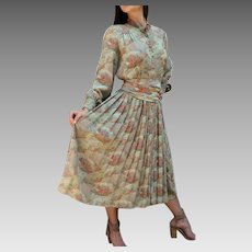 "Vintage 70s ANDRE LAUG Audrey Hepburn-inspired ""Japanese Garden"" Dress for ELIZABETH ARDEN  - 1970s Shirtdress (Small/Medium)"