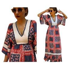 Vintage RED/WHITE/BLUE patriotic 70s hippie boho festival Maxi Dress - 1970s (Extra Small)