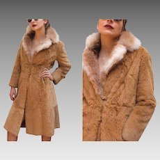 Vintage French/France Fur -- 70s Natural & Sheared Rabbit Stroller Coat from Beverly Hills - 1970s (Small)