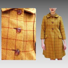 1 of a Kind and HIGH END Vintage 60s Wool Plaid twiggy mod space age Coat - 1960s (Extra Small)