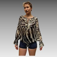 Vintage GUCCI ITALY 90s Runway Collection SHEER Zebra print LOGO flowy boho Top Blouse Shirt - 1990s (Med/Large)