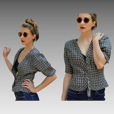 "UNUSED OLD STOCK: Vintage 80s Ungaro ""solo donna"" b/w plaid Linen crop Top Blouse Jacket - 1980s (Small)"