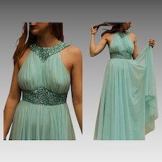 Vintage 60s MOD Flowy Chiffon & Sequin Aqua GRECIAN Gown formal dress - 1960s (Extra Extra Small)