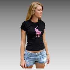 "Limited Edition Vintage 90s RALPH LAUREN Black Label ""Pink Pony"" Breast Cancer Awareness Tee Shirt Tank Top - 1990s (Extra Small)"