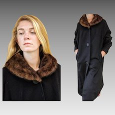 OLDER Vintage 40s/50s Black Wool & WILD MINK fur Collar Car Coat - 1940s (Large/Extra Large)