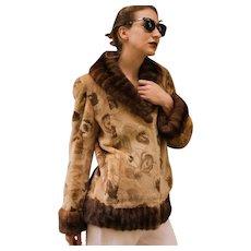 Vintage $3000 Morris Kaye & Sons SHEARED Velvet Tapestry & Mink FUR mod style Jacket/Coat - Small/Medium