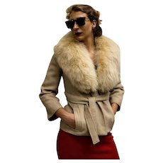 Vintage 60s TIZIANI ROMA - Karl Lagerfeld -  Herringbone Wool/Blonde FOX Fur Wrap Jacket (1960s) Extra Small