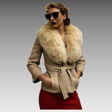 Vintage 60s TIZIANI ROMA - Karl Lagerfeld -  Herringbone Wool/Blonde FOX Fur Wrap Jacket (1960s) Extra Small