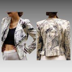 "Vintage 1600.00 JOHN GALLIANO 90s ""Graffiti PICASSO"" deconstructed Jacket Blazer - 1990s (Extra Small/Small) Ask"