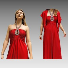 Vintage 60s mod halter VICTORIA ROYAL LTD Siren Red maxi Dress Gown - 1960s (Extra Small)