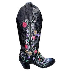 Vintage 70s UPCYCLED Womens PAINTED stacked high-heel JUSTIN Black Cowboy Boots - 1970s (Size 5 1/2 - 6)