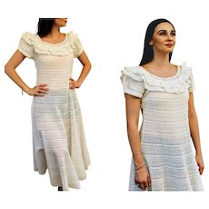 Vintage Authentic 30s Sheer White LACE ruffled-bodice Sun PARTY Dress - 1930s (Small)