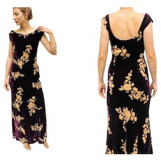 """EXQUISITE FASHION HISTORY: Vintage 90s Velvet Burnout """"New York City Fashion Week"""" Sample Gown Dress - 1990s (Extra Small/Small)"""
