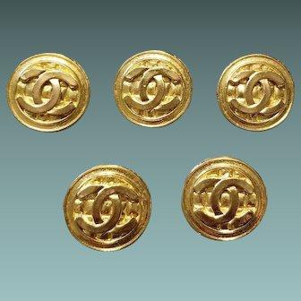 "Authentic! CHANEL Lot of 5 Vintage 80s ""CC"" BASKET Logo Goldtone Buttons - 27mm Large"