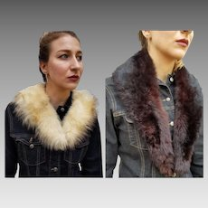 Vintage LOT OF 2 Mink & Goat Fur Collars scarf wrap stole - 1950s/1960s