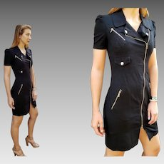"Vintage 90s MOSCHINO CHEAP & CHIC Black Denim/Gold Hardware ""Military"" body con Dress - 1990s (Extra Small)"