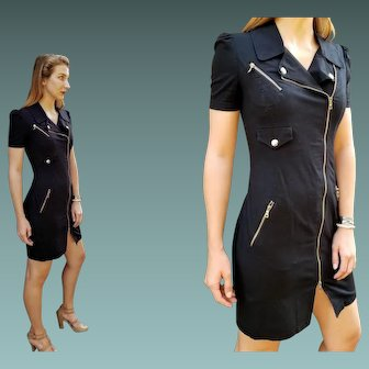 """Vintage 90s MOSCHINO CHEAP & CHIC Black Denim/Gold Hardware """"Military"""" body con Dress - 1990s (Extra Small)"""