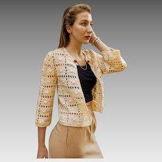 HAND CROCHET in FRANCE Vintage 1940s/40s Open Sweater/Jacket - w/Rhinestone Dress Clip!
