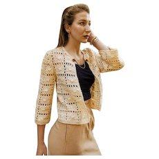 ****** VINTAGE SALE **** Hand-Crochet in France 1940s/40s Open Sweater/Jacket - w/Rhinestone Dress Clip!