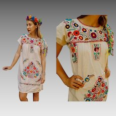 AUTHENTIC Vintage 80s Canvas Cotton MEXICAN embroidered boho festival Dress - 1980s (1 SIZE)
