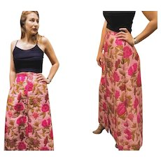 Gorgeous VINTAGE 60s Pink Floral QUILTED hippie boho festival bohemian MAXI Skirt - 1960s (Extra Small)