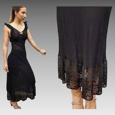 EXQUISITE VINTAGE 30s Nylon/LACE Long Slip Gown dress lingerie - 1930s (Extra Small)